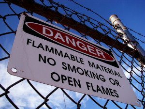 Flammable materials sign in the workplace